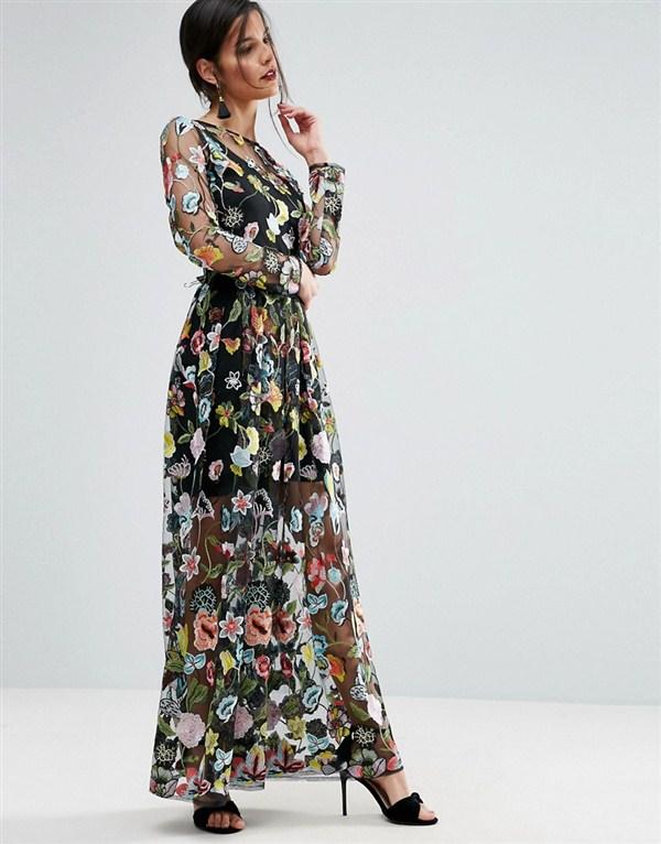 LONG DRESS WANITA - FLORAL MAXI DRESS - DRESS BUNGA