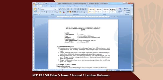 RPP K13 SD/MI Kelas 5 Tema 7 Format 1 Lembar Halaman
