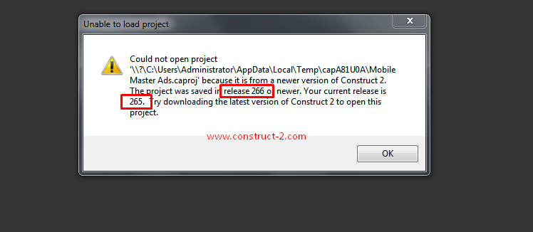 Construct 2 Unable File Capx