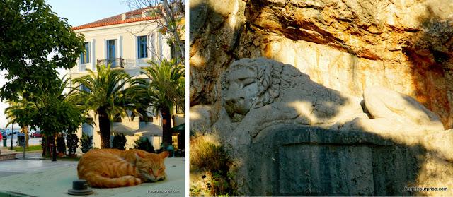 Leão da Bavária, escultura em um parque público de Nafplio, Grécia