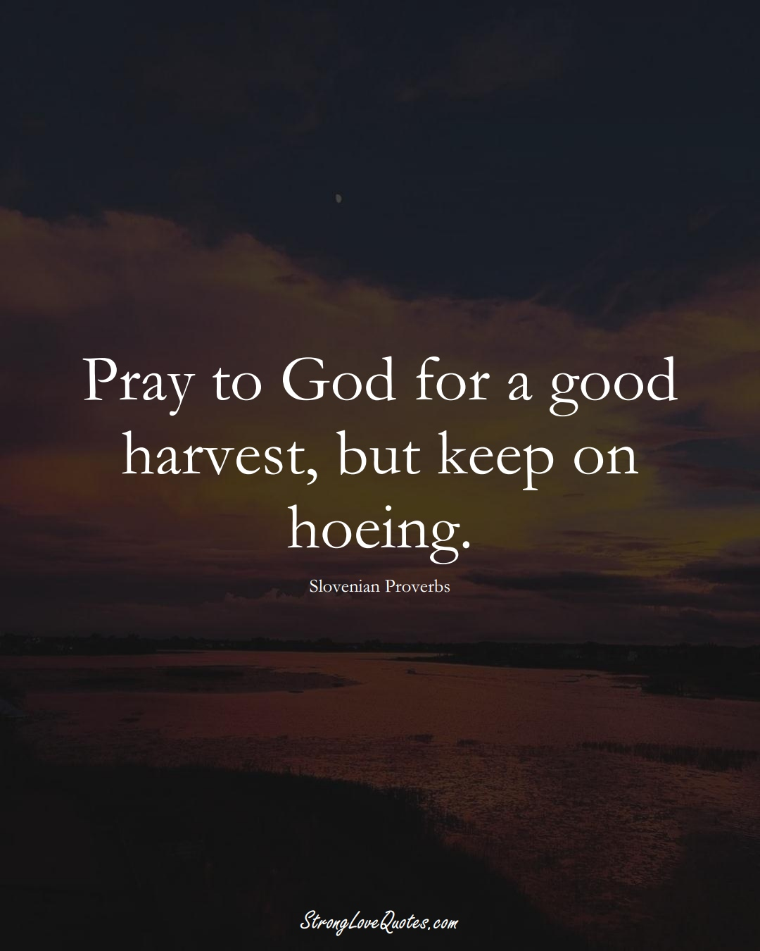 Pray to God for a good harvest, but keep on hoeing. (Slovenian Sayings);  #EuropeanSayings