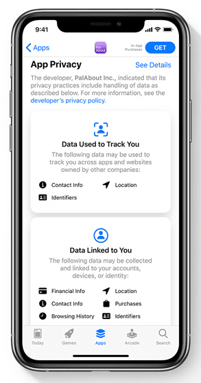 ios 14 privacy label
