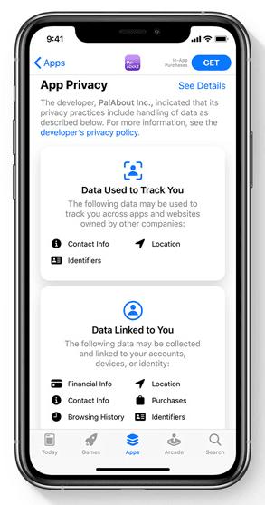 ios 14 privacy label