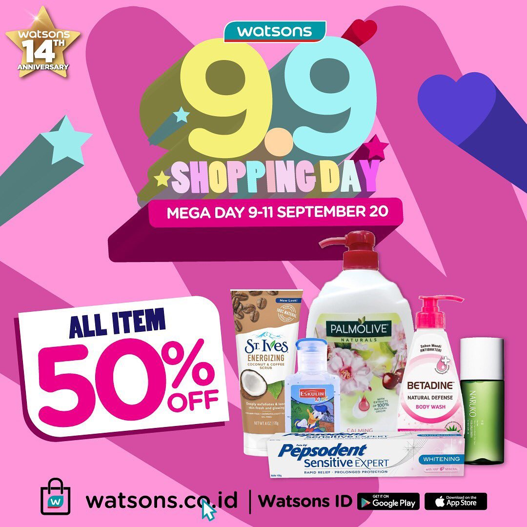 Watsons 9.9 Promo Mega Day All Item Disc 50% Off Periode 9 - 11 September 2020