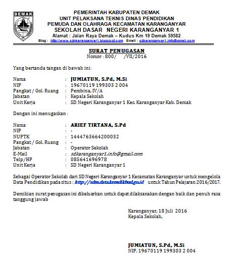 Download Contoh Surat Tugas Operator Sekolah Sidapodik