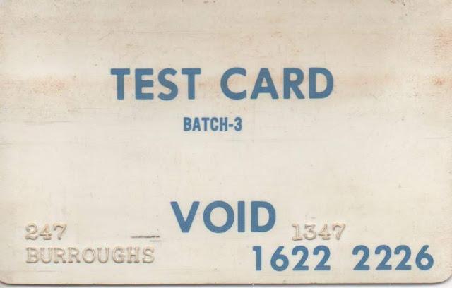 Targeta d'accés als caixers de Burroughs per desenvolupadors, anvers.
