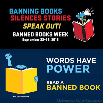 Illustrated poster for Banned Books.  Text: Banning Books Silences Stories. Speak Out.  Banned Books Week, Sept 23-29.  Words have power.  Read a banned book.  Images of books, megaphones and a character reading with fist pump in the air