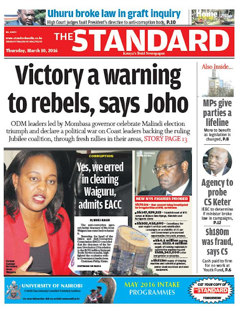 10th March: Headlines Across Top Kenyan Newspapers