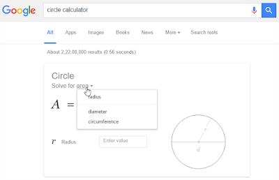 Hal Menarik yang Bisa Di lakukan Google Search - Kalkulator Lingkaran