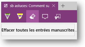 sb astuces - Windows 10 - annoter une page web - effacer