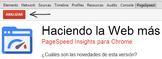 Analizando la pagina con PageSpeed