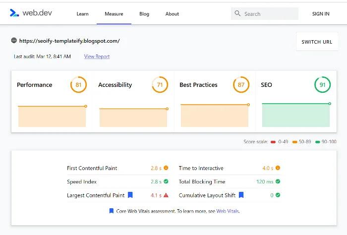 Seoify - Blogger Template Performance
