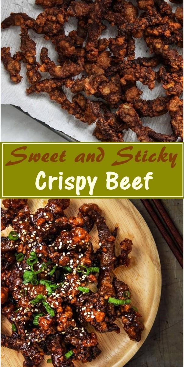 Sweet and Sticky Crispy Beef #dinnerrecipes