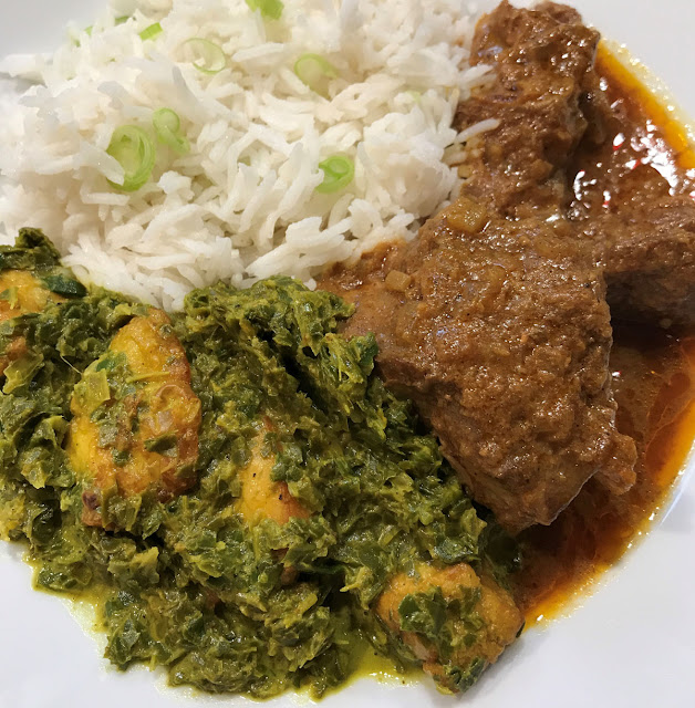 Senposai Palak Paneer Haloumi Basmati Lamb curry on a white plate