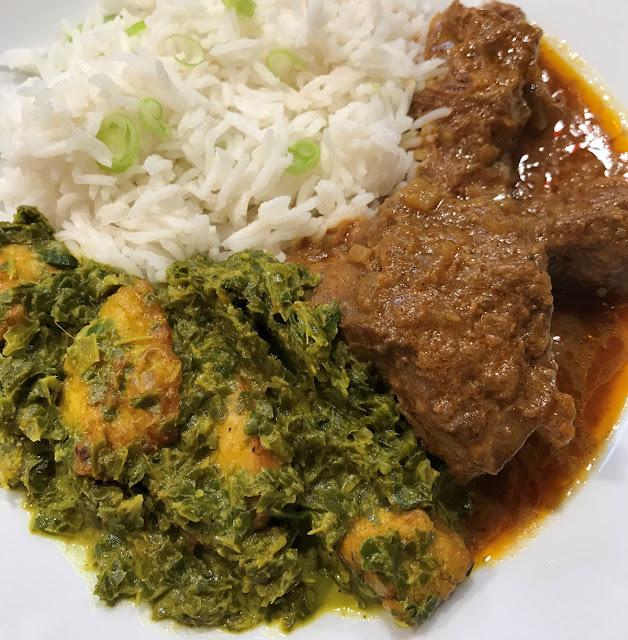 Senposai Palak Paneer Haloumi Basmati Lamb curry on a white plate