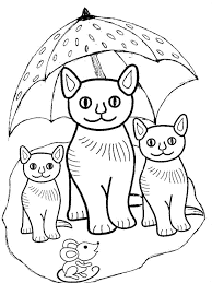 Printable Cats Family And Mouse Coloring Book