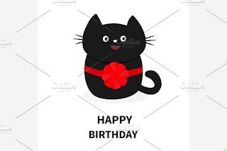 happy birthday cat black