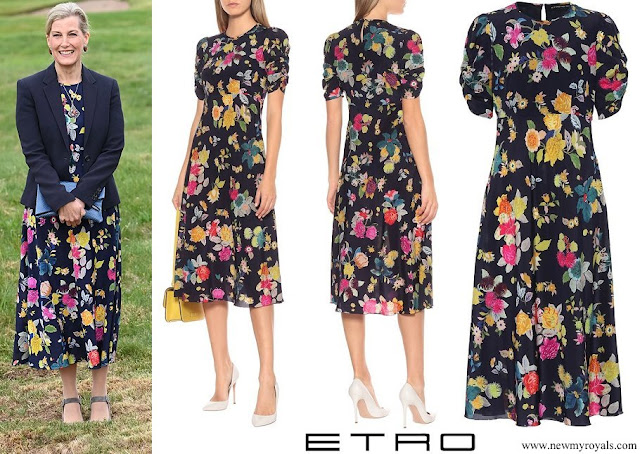 Countess of Wessex wore Etro floral stretch silk crepe midi dress