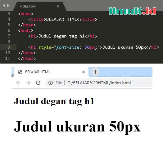 Judul pada HTML dimulai dari <h1> sampai dengan <h6> dengan <h1>