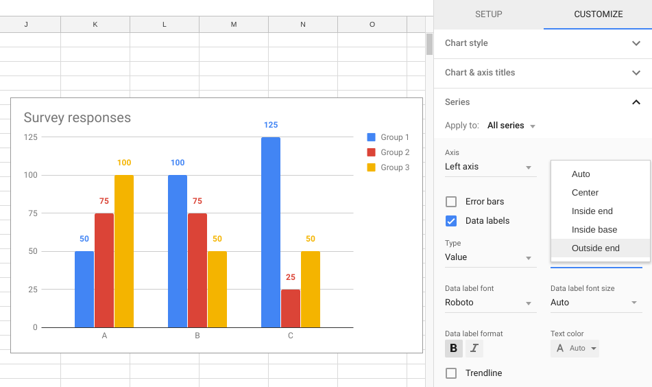 G Suite Updates Blog: Get more control over chart data labels in
