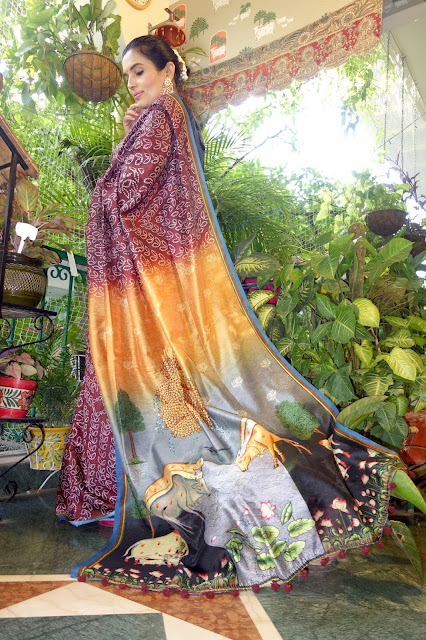 Digital print Bandhani pichwai silk cotton saree