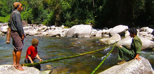 Myanmar outdoor building a bamboo bridge