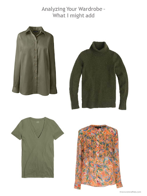 suggested additions for a capsule wardrobe based on olive green