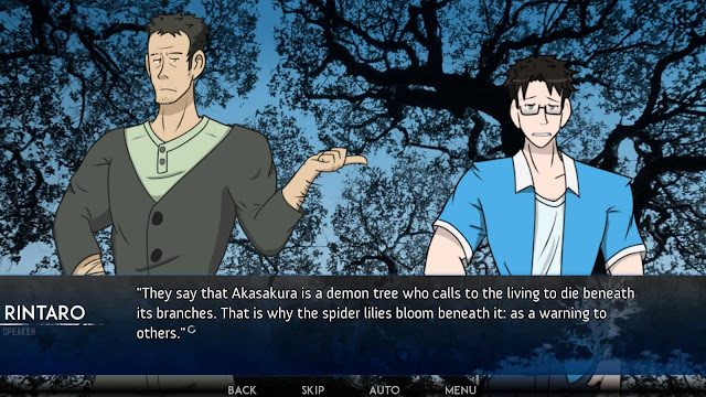 Rintaro and daichi having a conversation about akasakura tree with the tree as the background