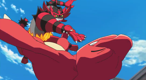 Pokémon the Movie I Choose You Incinearoar Throat Chop Charmeleon mid-air