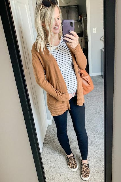 Cardigan, striped shirt and leggings