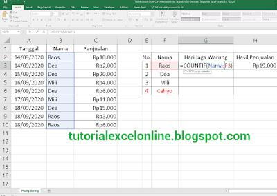 Menghitung jumlah masuk kerja dalam Excel