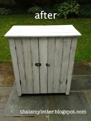 vintage storage cabinet after