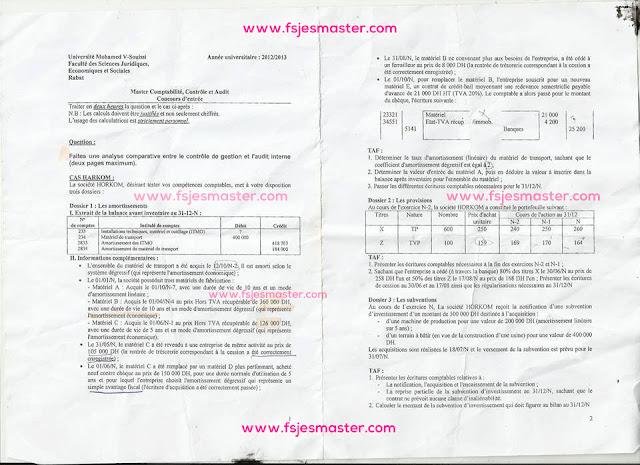 Concours d'accès au Master Comptabilité Contrôle Audit (CCA) 2012-2013