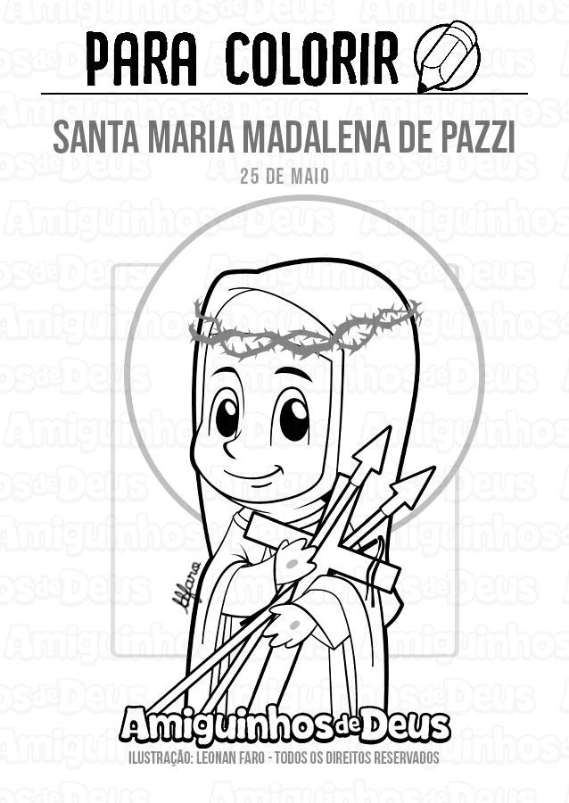 Santa Maria Madalena de Pazzi desenho para colorir