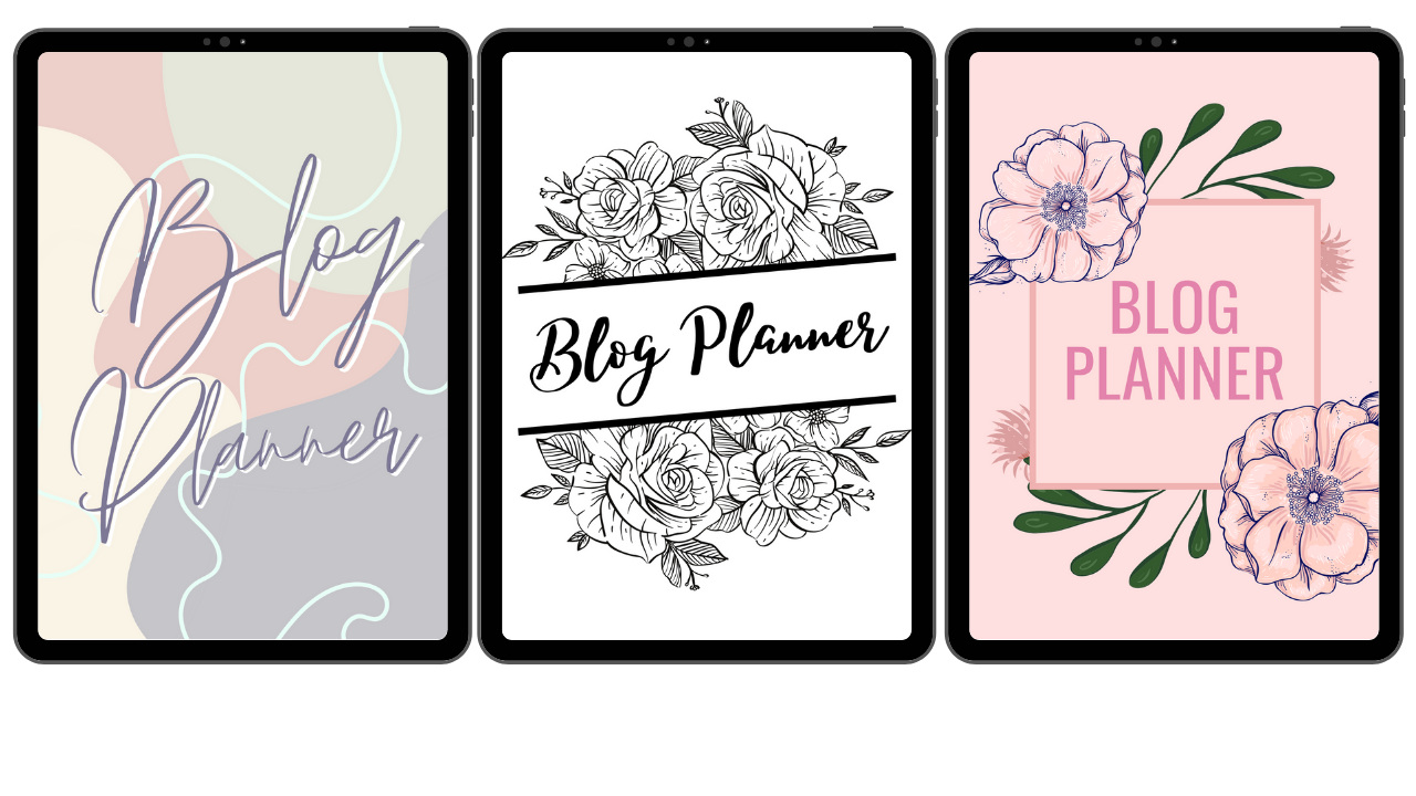 Graphic showing three different blog planner covers by Jordanneleecreative