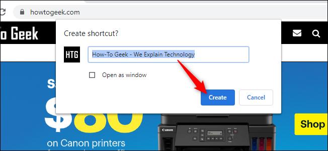 إنشاء اختصار في Chrome