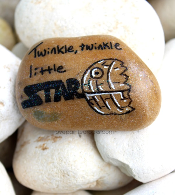 Get the tutorial for how to paint a twinkle twinkle little death star rock