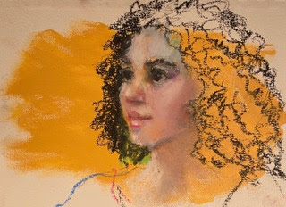 portrait woman curly hair oil pastel on acrylic