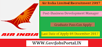 Air India Recruitment 2017– Business Development Manager