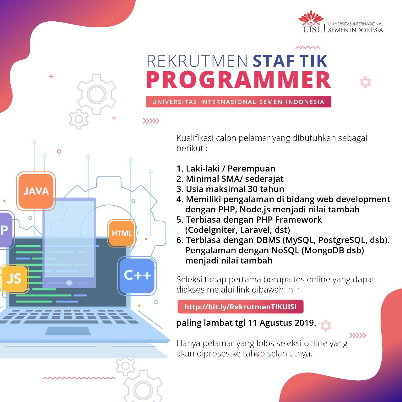 Rekrutmen Universitas Internasional SEMEN INDONESIA Minimal SMA sederajat