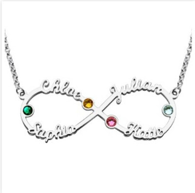 Cheap Personalized Infinity 4-Name Necklace With Birthstones Silver - Price: $ 54.99