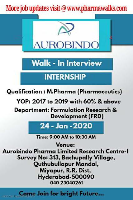 Aurobindo Pharma walk-in interview for Freshers on 24th Jan' 2020