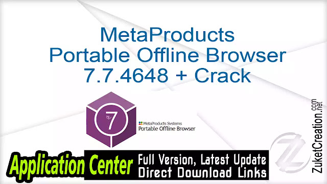 MetaProducts Portable Offline Browser 7.7.4648 + Crack