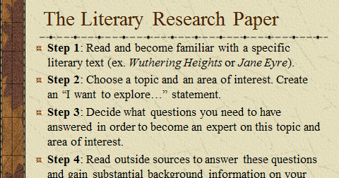 achimore academics literary research paper the first steps