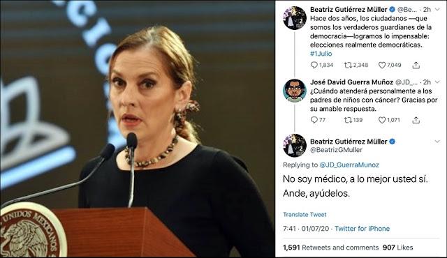 Gutiérrez Müller causa polémica por respuesta a petición de atender a padres de niños con cáncer
