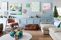Blue wall paneling for living room idea