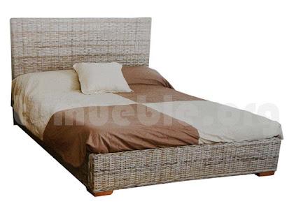 cama rattan natural y madera teca j759