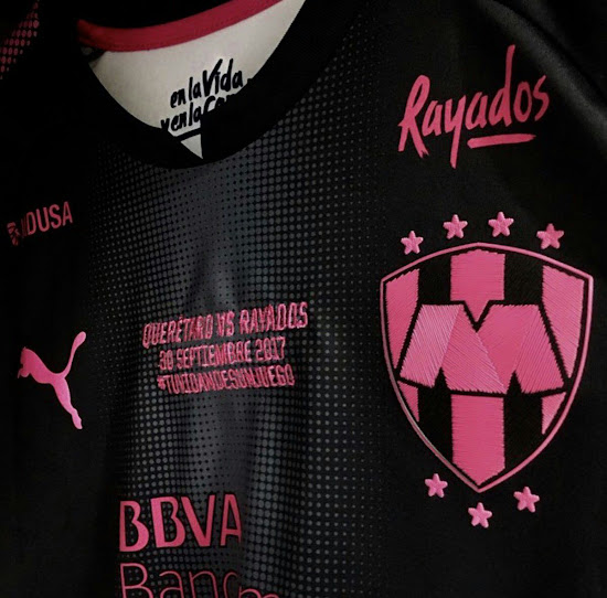 77a2976415a Just as the Chivas and Rayados 2017-2018 Project Pink shirts, the Queretaro  and Santos Laguna 2017-18 Project Pink shirts combine the stealth look of  the ...