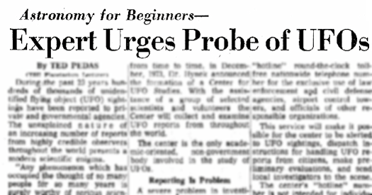 Expert Urges Probe of UFOs (Heading) - YoungsTown Vindicator 3-10-1974