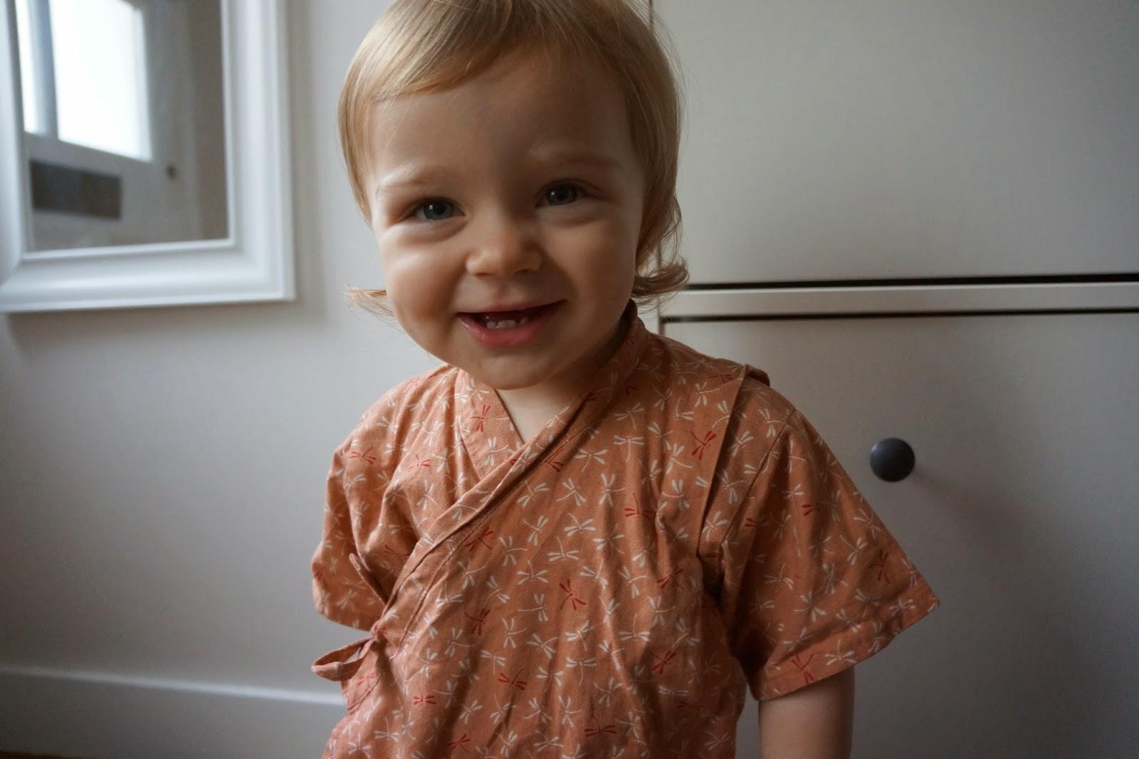 smiling baby in kimono yukata